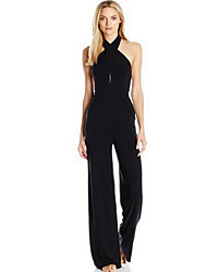 Women's Backless Holiday Jumpsuits,Street chic Wide Leg Solid Summer