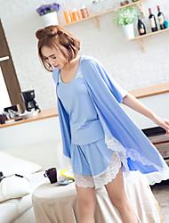 3ks sladká stylová čipka patchwork pyžama set