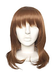 cheap -Top Quality Capless Long Brown Natural Wavy Wig Synthetic Fiber Costume Cosplay Hairstyle