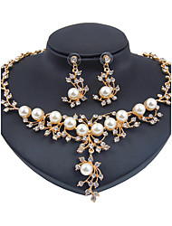 cheap -Women's Imitation Pearl Imitation Pearl Jewelry Set 1 Necklace 1 Pair of Earrings - Classic Euramerican Fashion Flower Jewelry Set For