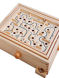 cheap -Board Game Maze & Sequential Puzzles Maze Wooden Labyrinth Toys Square Wood Pieces Children's Unisex Gift
