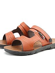 Men's Sandals Summer Light Soles PU Casual Blue Brown