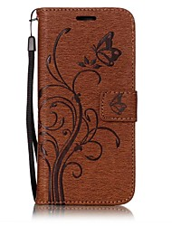 cheap -Case For Samsung Galaxy S8 S7 edge Card Holder Wallet with Stand Flip Magnetic Embossed Full Body Cases Solid Color Butterfly Tree Hard