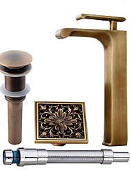 abordables -Antique Set de centre Douche Jet pluie Séparé Soupape céramique Mitigeur un trou Cuivre antique, Robinet