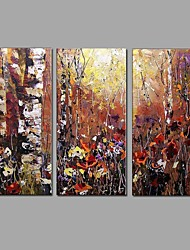 cheap -Abstract Scenery Picture Canvas Handpainted Oil Painting 3 Piece/set Wall Art With Stretched Frame Ready to Hang