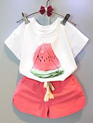 Недорогие -Девочки Наборы Искусственный шёлк С принтом Лето С короткими рукавами Набор одежды