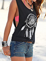 Women's Casual/Daily Simple Summer Tank Top,Letter Round Neck Sleeveless Cotton Opaque