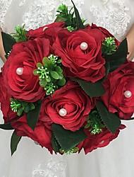 Fleurs de mariage Rond Roses Bouquets Cérémonie de mariage Satin Perle Env.28cm