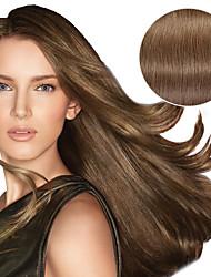 billiga -9st / set deluxe 120g # 8 ash brunt klipp i hårförlängningar 16inch 20inch 100% rakt humant hår