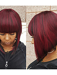 Hot Style Dark Red Wine Natual Bob Hair Style With Straight Bangs Synthetic Capless Wig