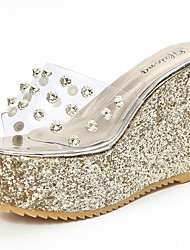 Women's Sandals Comfort PU Summer Casual Rivet Wedge Heel Gold Silver 2in-2 3/4in