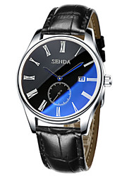 cheap -Men's Wrist Watch Large Dial Leather Band Charm / Casual / Fashion Black