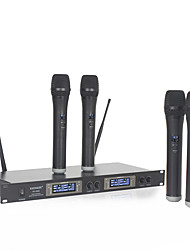cheap -Dual 4 Channel LED WIRELESS Microphone System with 4 CORDLESS MIC for KTV Family Entertainment