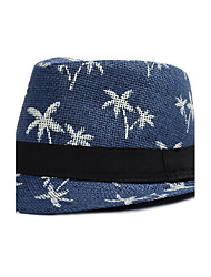 Women Men England Vintage Casual Sunscreen Coconut Tree Printing Jazz Flat Top Straw Beach Hat