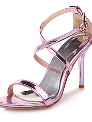 cheap -Women's Shoes Leatherette Spring Summer Comfort Sandals Stiletto Heel Open Toe Buckle for Casual Office & Career Dress Gold Purple Silver