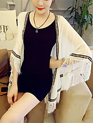 Women's Casual/Daily Beach Sexy Cute Spring Summer Jacket,Color Block Cowl Long Polyester Mesh Tassel