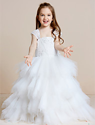 cheap -A-Line Floor Length Flower Girl Dress - Lace Tulle Sleeveless Straps with Beading by thstylee