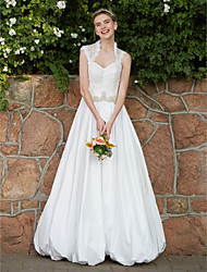 A-Line Queen Anne Floor Length Lace Taffeta Wedding Dress with Crystal Beading Sash / Ribbon Button by LAN TING BRIDE®