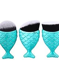 abordables -1 juego Cepillo para Polvos Cepillo para Base Pincel de Nylon Portátil Viaje Ecológica Profesional Cobertura completa AluminioHombre Cara