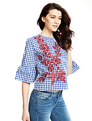 Women's Flare Sleeve Embroidery Going out Boho Fall Shirt,Solid Shirt Collar Long Sleeve White Cotton / Polyester Medium