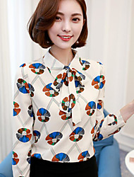 Women's Casual/Daily Simple Spring Shirt,Print Shirt Collar Long Sleeves Others Thin