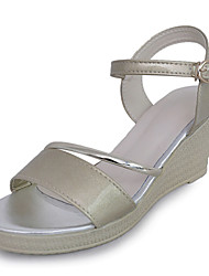 cheap -Women's Shoes PU Summer Comfort Sandals Wedge Heel Open Toe Buckle for Casual Gold Silver
