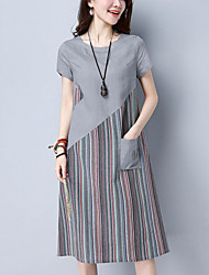 Women's Casual/Daily Street chic Loose Dress Striped Patchwork Round Neck Knee-length Short Sleeve Cotton /Linen Summer