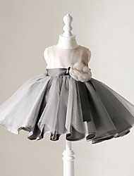 breve abito di sfera / mini vestito dalla ragazza del fiore - collo di cristallo sleeveless del organza con il fiore di ydn