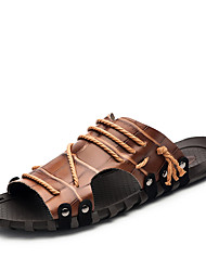 cheap -Men's Slippers & Flip-Flops Spring Summer Fall Comfort Cowhide Outdoor Dress Casual Dark Brown Black White Upstream shoes