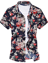 cheap -Men's Cotton Shirt - Floral Flower Classic Collar