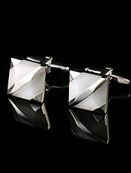 Classic Low-key Luxury Opal Cufflinks for Mens High Quality Brand Square Cuffs Cat's Eye Stone Cuff links Silver Jewelry
