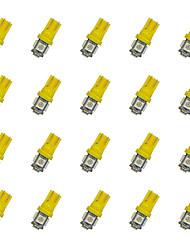 20pcs t10 5 * 5050 smd ha condotto la luce gialla dc12v della lampadina dell'automobile
