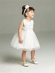 abito di sfera breve / mini vestito dalla ragazza del fiore - collo di cristallo sleeveless del organza con applique da ydn
