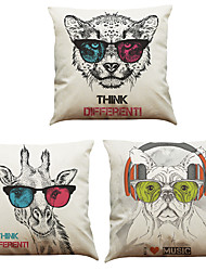 Set of 3 Sunglasses Animals  Pattern  Linen Pillowcase Sofa Home Decor Cushion Cover