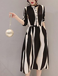 Mujer Línea A Vestido Diario Casual,Geométrico Escote Chino Midi Algodón Verano Tiro Medio Rígido Medio