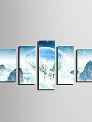 E-HOME Stretched Canvas Art Flying White Horse Decoration Painting Set Of 5