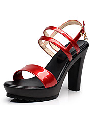 cheap -Women's Sandals Club Shoes Leather Summer Casual Wedge Heel Black 2in-2 3/4in