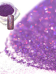 0.2g/bottle Fashion Romantic Purple Gorgeous Color Laser Nail Art Glitter Holographic Fine Powder DIY Charm Shining Pigment Shining Decoration JX11