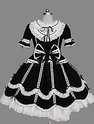 cheap -Gothic Lolita Dress Princess Women's Girls' One Piece Dress Cosplay Cap Short Sleeves Short / Mini