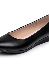 cheap -Women's Flats Basic Pump Leather Spring Fall Office & Career Wedge Heel Black 1in-1 3/4in