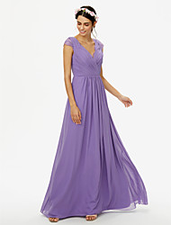 cheap -A-Line V Neck Floor Length Chiffon Lace Bridesmaid Dress with Lace Pleats Criss Cross by LAN TING BRIDE®