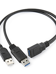 "Black USB 3.0 Female to Dual USB Male Extra Power Data Y Extension Cable for 2.5"" Mobile Hard Disk"