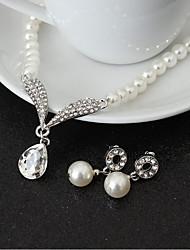 baratos -Mulheres Conjunto de jóias - Imitação de Pérola Caído Incluir Branco Para Casamento / Festa / Aniversário