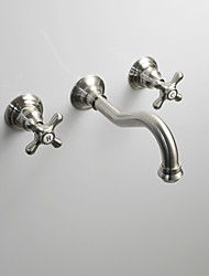 Недорогие -Ванная раковина кран - Настенное крепление Матовый На стену Две ручки три отверстияBath Taps