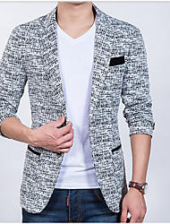 Men's Casual/Daily Simple Fall Blazer,Print Peaked Lapel Long Sleeve Regular Polyester