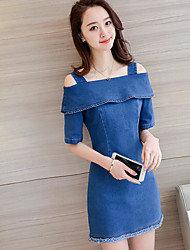 cheap -Women's Daily Casual Denim Dress,Solid Strap Mini Polyester Summer Mid Rise Inelastic Thin