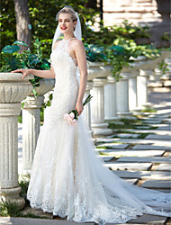 cheap -Sheath / Column Illusion Neckline Sweep / Brush Train Lace Tulle Wedding Dress with Beading Appliques Button by LAN TING BRIDE®