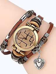 cheap -Men Premium Genuine Leather Watch Triple Bracelet Women Watch Loveheart Charm Wristwatch Fashion Para Femme