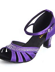 Women's Dance Shoes Satin Latin Heels Heel Indoor Nude Red Purple Customizable