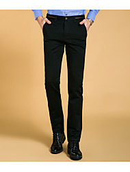 Men's High Rise strenchy Business Pants,Simple Slim Solid